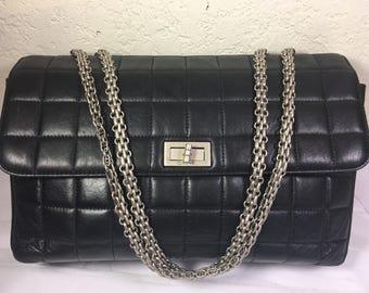 Vintage CC Identification Black Flap Quilted Shoulder bag