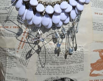 Urban Repurposed Beaded Necklace with Safety Pins   BohemianFlirt Paris Chic