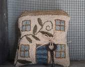 primitive punch needle handmade house pin keep cupboard tuck
