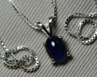 Sapphire Necklace, Blue Sapphire Cabochon Pendant 1.24 Carat Appraised at 550.00, September Birthstone, Genuine Sapphire, Sterling Silver