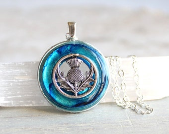 sky blue Scottish thistle necklace, thistle jewelry, nature necklace, unique gift, Scottish jewelry, Scottish necklace, womens gift