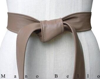 Classic Taupe Leather Coat Belt, Soft Lambskin Leather Belt, Neutral Leather Tie Belt  Xsmall -small - medium - large - Xlarge, custom sizes