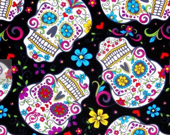 END OF BOLT 32 inches long, Sugar skulls fabric, 100% cotton for Quilting, crafting and all sewing projects.