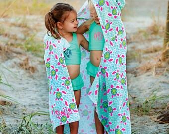 Monogrammed Hooded Beach Towel - Turtle