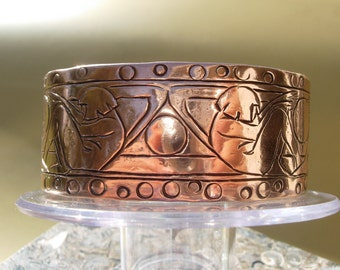 Recycled Copper Chased Hand stamped Bracelet Art Deco inspired Go Green