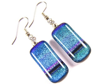 """Dichroic Earrings - Teal Blue Green Purple Rainbow Striped Dichro Tie Dye Fused Glass - Surgical Steel French Wire Dangle or Clip-on - 1"""""""