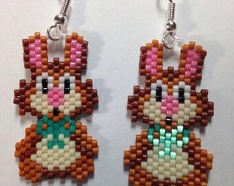 Brown Easter Bunny Earrings