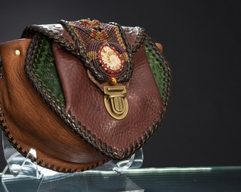 Leather Belt Bag with Macrame and Ammonite Fossil