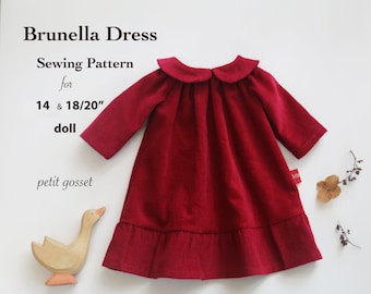 "Sewing Pattern and Tutorial for Peter Pan Collar Dress for 14 and 18/20"" Doll"