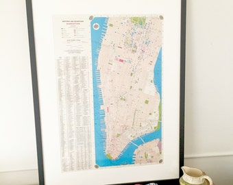 New York Map | Vintage Map | Wall Art | Wall Decor | Housewarming Gift | New York City | Gift for husband | Gift for her | Manhattan Map
