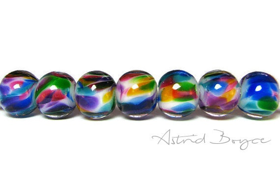 Rainbow Rounds - Artisan Lampwork Glass Bead Set - Great for Glass Orb Earrings or an Orb Necklace in Beautiful Rainbow Colors - SRA B - 195