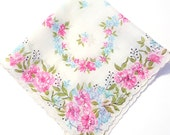 Pastel Blue and Pink Flowers on a Scalloped Edged White Hanky, Mother's Day Gift, Gift for Mom, Spring Handkerchief