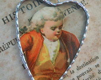 Fiona & The Fig - Victorian Era-Die Cut Colonial Boy - Advertising Card-Soldered Charm - Necklace - Pendant-Jewelry