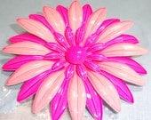Reserved Beautiful Enamel Flower Big pink enamel flower brooch