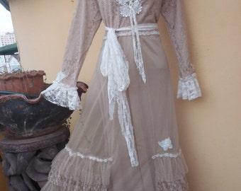 20%OFF wedding formal brides maid bohemian lagenlook gyspy vintage boho ..x small to 34'' bust..