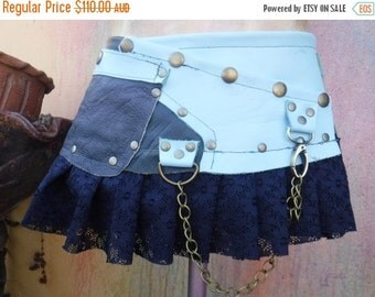 "20%OFF BURNING Man..festival belt, gypsy belt,,, two tone blue leather belt with stud detail.chain,2 pockets ...34"" to 42"" waist/hip"