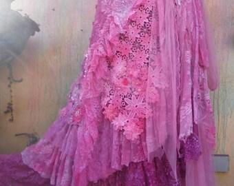 20%OFF wedding skirt,tattered skirt, stevie nicks, bohemian skirt, boho skirt, gypsy skirt, lagenlook skirt,OAK, shabby mermaid wrap skirt..