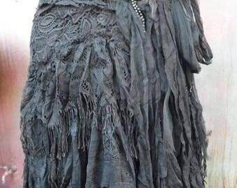 20%OFF gothic, black lace, shabby, maxi skirt, boho, mori girl, stevie nicks, bohemian skirt, gypsy skirt, victorian, bellydance, shabby