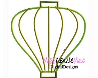 Paper Lantern Balloon Machine Applique Embroidery Design, Mulitple Sizes