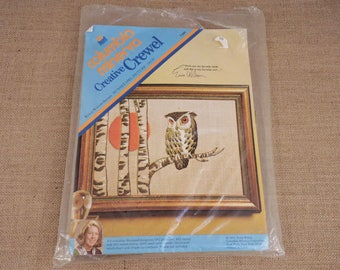 Columbia Minerva Creative Crewel Erica Wilson Sunset Owl Picture Kit