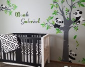 Pandas Nursery Wall Decals for kids room - Tree and Five Little Bears with flying Balloon -  PLTBRS030