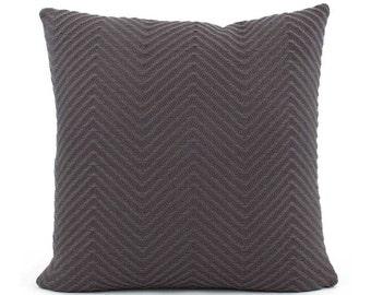 Gray Chevron Knit Pillow Cover, 18x18, 20x20, 22x22 Euro, Lumbar Dark Gray Pillow, Throw Pillow, Accent Pillow Cushion, Streamline Infinity