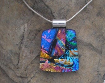 Rainbow Dichroic Necklace Dichroic Glass Rainbow Pendant Dichroic Jewelry
