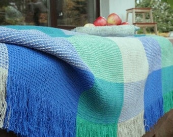 Linen-Cotton blanket-classic waffle--throw--Green-Blue