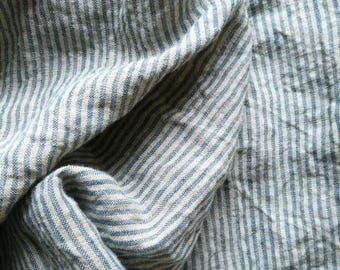 Linen fabric  with light blue vertical stripes-pure linen--natural--washed