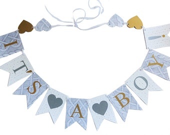 BABY SHOWER BANNER Delicate Greyish Blues Whites and Gold