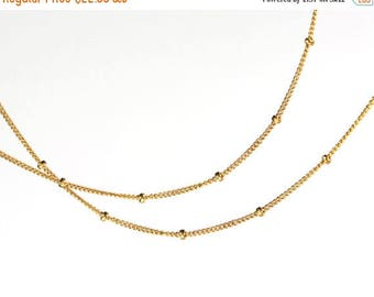 20% off. Petwa. Layering Necklace. Single Strand of Delicate Gold Filled or Sterling Silver Satellite Chain. Up to 36 Inches.