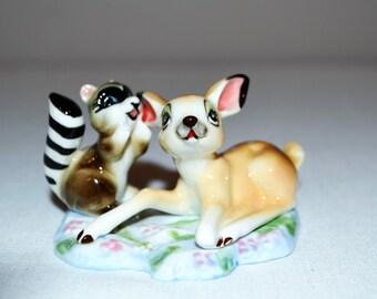Vintage Deer and Raccoon Figurine