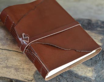 "One - of - a - kind / Leather Journal, handmade, 5X7"", Rustic, Free Initials"