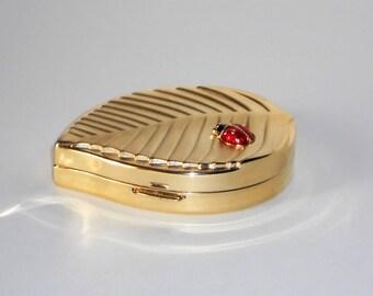 Estee Lauder Ladybug Compact Lucidity 1993 Vintage Makeup Golden Leaf