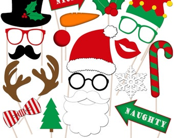 Printable Christmas Photo Booth Props, Christmas Photo Props, Holiday Props, Instant Download - DP405