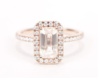 Super Sale - CERTIFIED - GIA Certified Light Champagne Peach Emerald Cut Sapphire & Diamond Halo Engagement Ring 14K Rose Gold