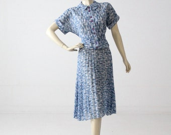 1930s dress, floral skirt and blouse set, vintage 30s outfit