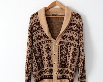 SALE vintage 70s cardigan sweater, men's Crown Sportswear cardigan