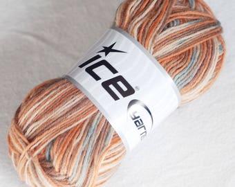 Self Striping Sock Yarn, Superwash Wool, 50g, Brown, Beige, PumpkinOrange, Blue, Sale, Discount, Fingering Weight, Ice Yarn