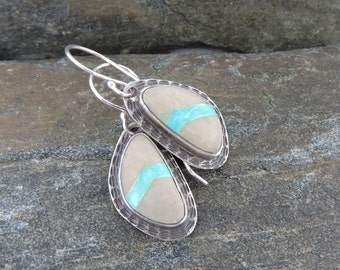 Ribbon Turquoise Earrings, Handmade, Sterling Silver, Sky Blue, Modern Earrings, Great with Jeans, Casual, Turquoise in Matrix, Made In NH