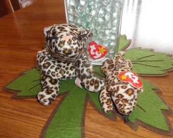 RARE! Retired Ty Beanie Babies Matched Set Freckles w/Teenie Baby Freckles Leopard