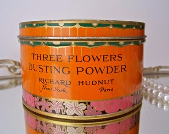 Antique Art Deco Powder Tin RARE Tangerine Dusting Powder Tin Ladies Vanity Box Richard Hudnut Vintage 1930s