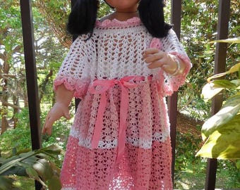 Baby girl one years old to 1.5 years old crochet dress, model is 29 inches.