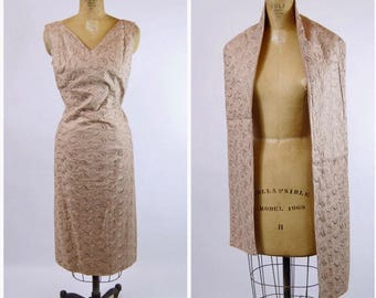 Vintage 1950s ecru brocade cocktail wiggle dress and stole wrap XL
