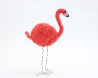 Pink flamingo / needle felted bird ornament / felt flamingo