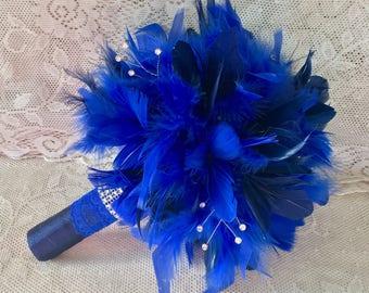 Feather Wedding Bouquet, Royal Blue Bridal Bouquet, Gatsby Bouquet, SOMETHING BLUE, Feather Bouquet, Blue Wedding Flowers,Your Choice Colors