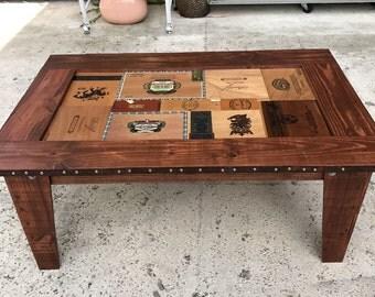Cigar Coffee Table. Cigar Box Coffee Table. Unique Cigar Coffee Table.