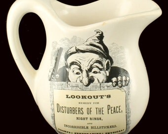 Advertising Pottery Creamer Lookout's Remedy for Disturbers of the Peace Dwarf