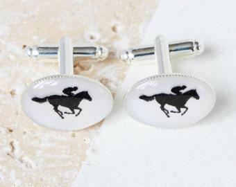 Horse Riding Cufflinks, Horse Cufflinks, Horse Racing Cufflinks, Sport Cufflinks, Silver cufflinks, dad cufflinks