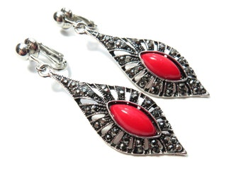 Red Marquee Clip On Earrings - Non Pierced Ears